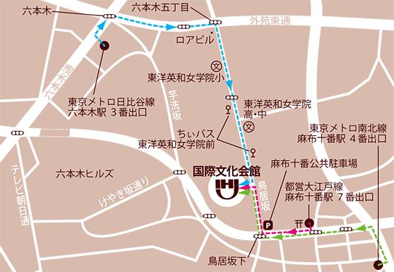 国際文化会館への地図